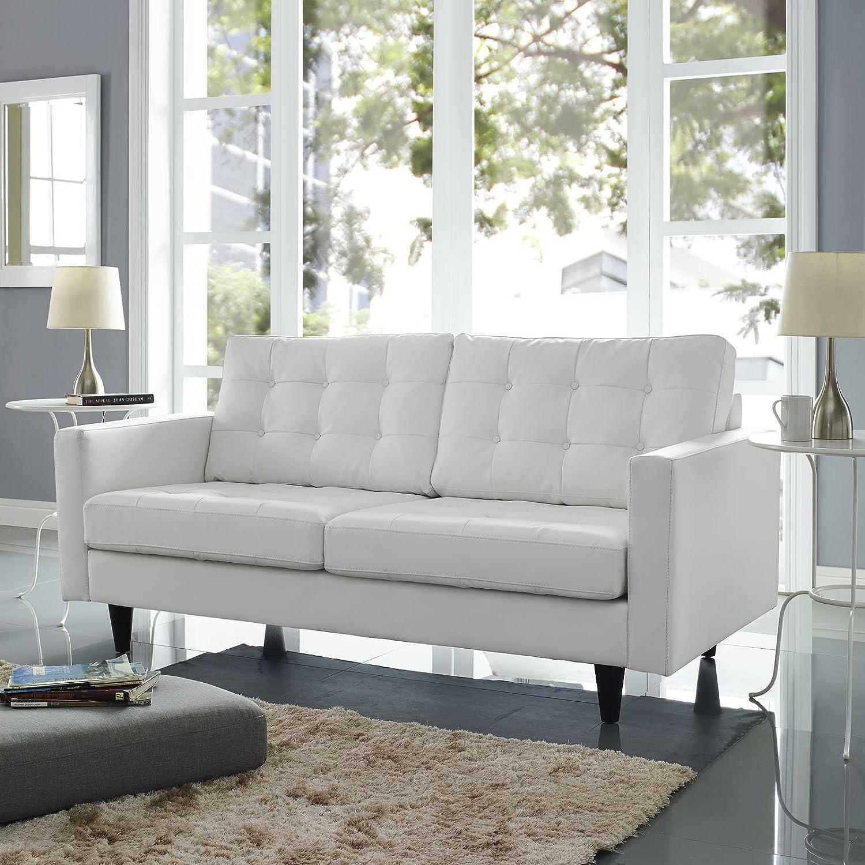 Amazon Modern Contemporary Loveseat White Leather Kitchen