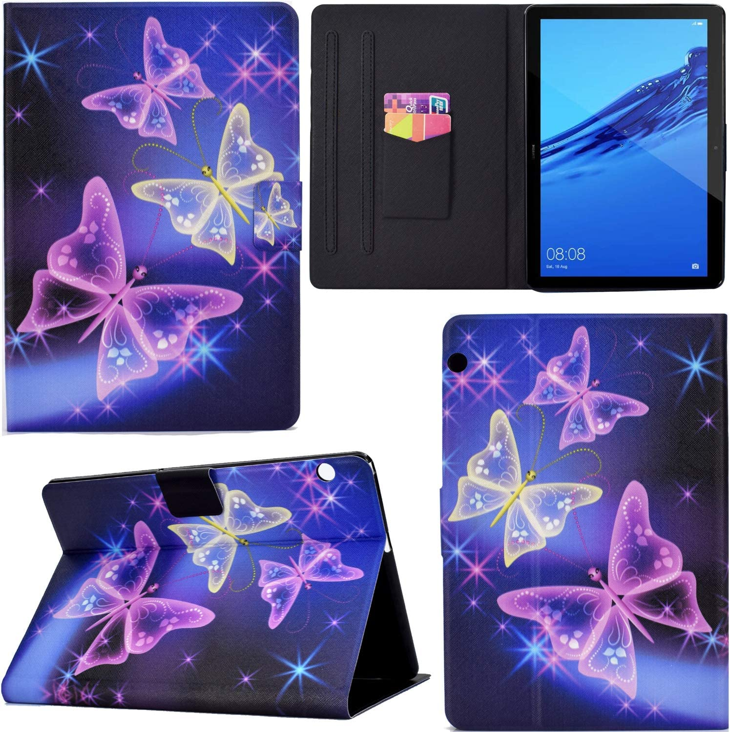 PU Leather Flip Smart Cover Thin Wallet Bag Holder Stand with Card Slots Magnetic Closure Purple Butterfly DodoBuy Case for Huawei MediaPad T5 10.1