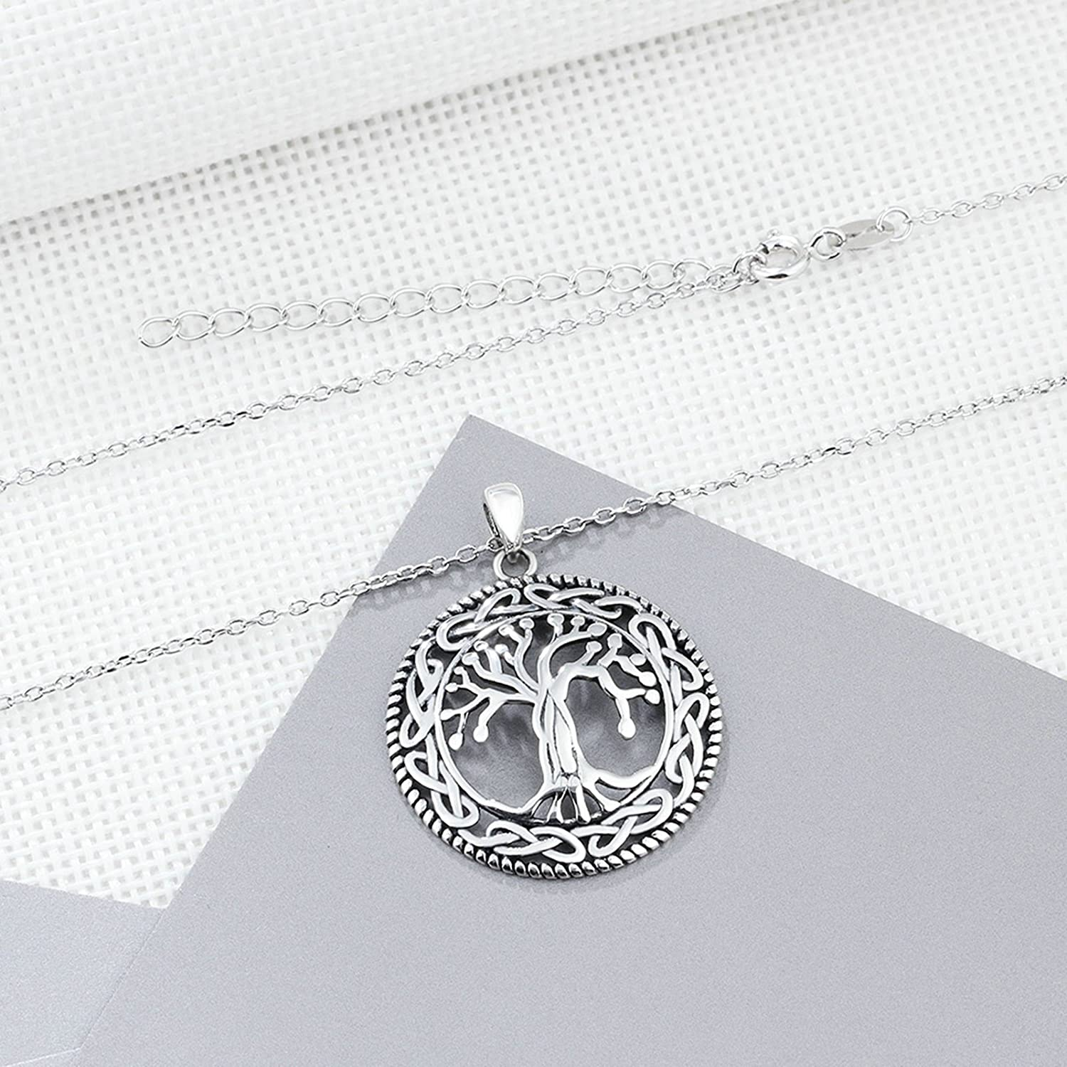 ANAZOZ Women Jewelry S925 Silver Necklace The Tree of Life Surrounded by a Circle Infinity Knot Pendant for Women Ladies