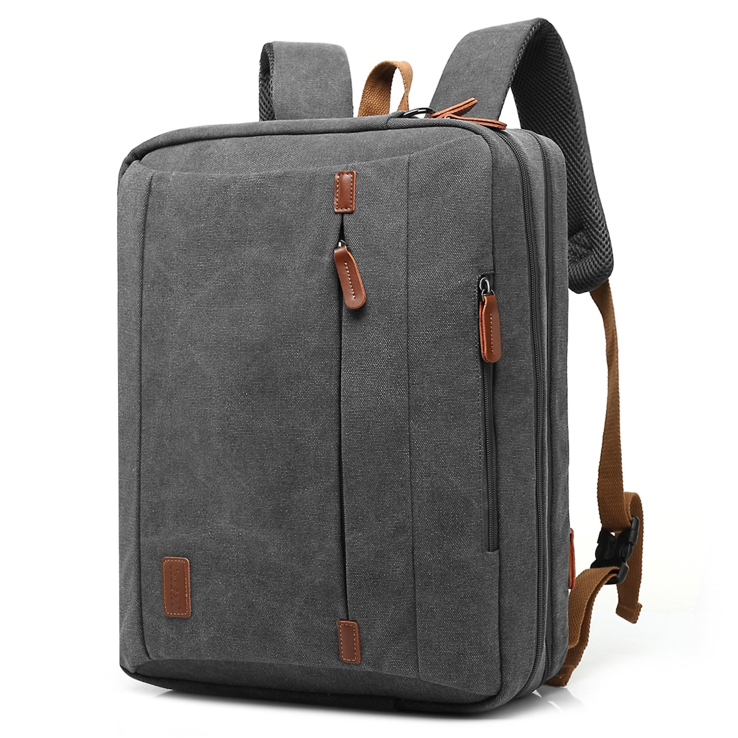 CoolBELL 17.3 Inches Convertible Laptop Messenger Bag Shoulder Bag Canvas Backpack Oxford Cloth Multi-Functional Briefcase For Laptop/Macbook/Tablet (Canvas Dark Grey)
