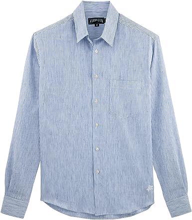 VILEBREQUIN Camisa de Lino a Rayas Finas - Hombres - Cielo Azul - XXXL: Amazon.es: Ropa y accesorios