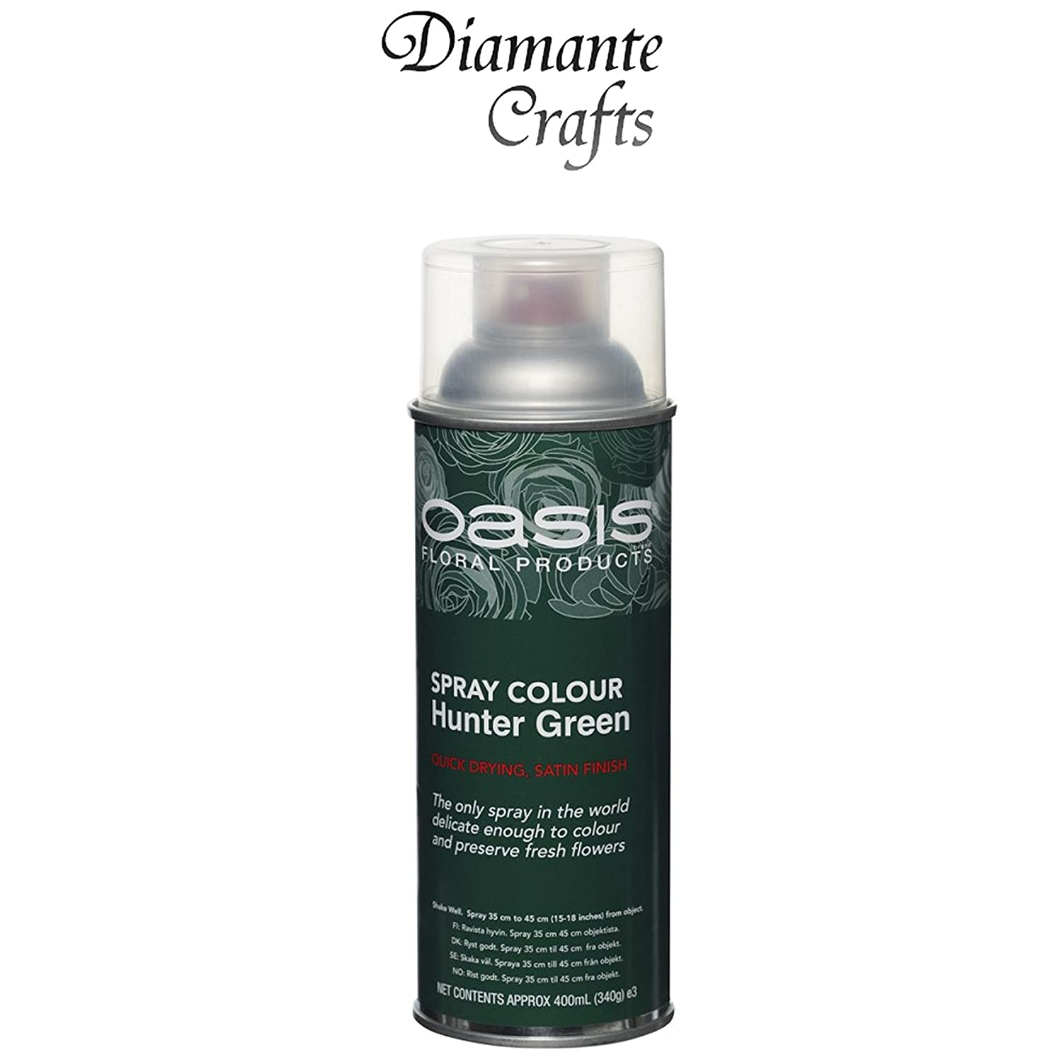 Spray Paint by Oasis 400 ml Cans Fresh Flowers & Crafts Florist - 42 Colours (Flat Black) Diamante Crafts