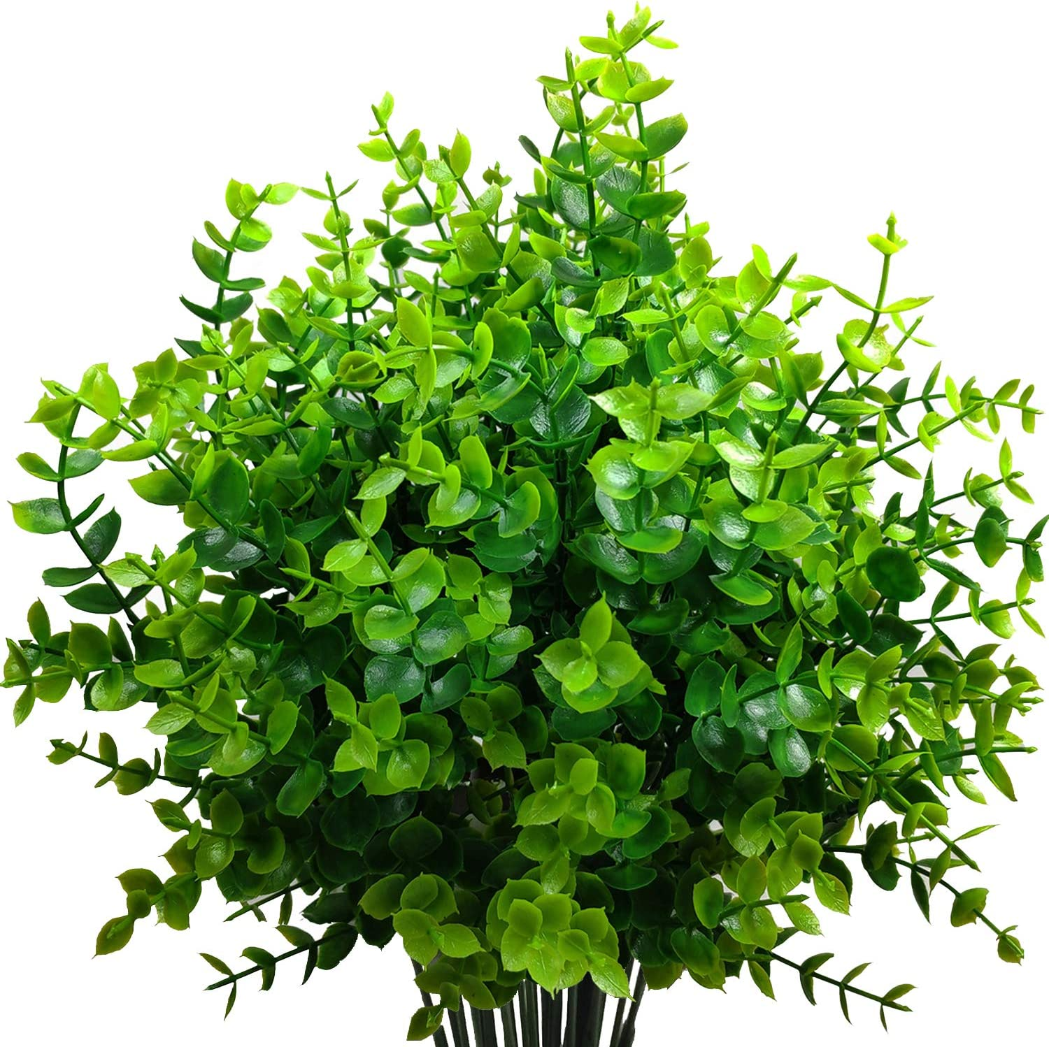 MIXCUTE Artificial Boxwood (Pack of 6), Fake Plants Faux Artificial Greenery Boxwood Stems for Wedding, Home, Farmhouse, Garden, Office, Hotel, Indoor, Outdoor Decor