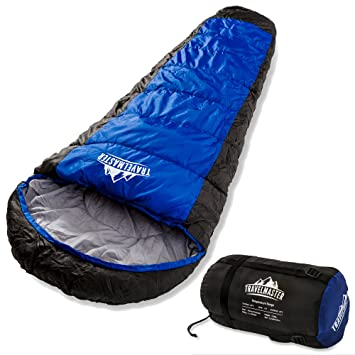 TravelMaster - Saco de dormir tipo momia de 300 g/m², calidad premium con 210T, impermeable, ...