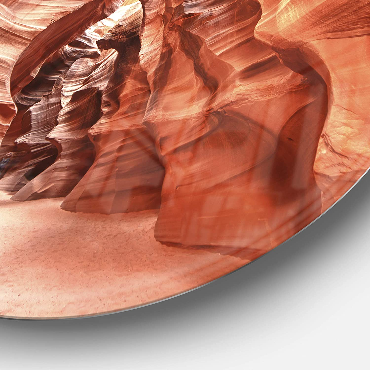 Designart Antelope Canyon High Structures Landscape Photo Round Metal Wall Art Disc of 23 inch 23 H x 23 W x 1 D 1P Yellow//Brown