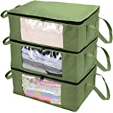 CCidea 3Pack Clothes Organizers Storage Bag, with Reinforced Handle,Great for Comforters,Blankets,Bedding,Under Bed Storage B