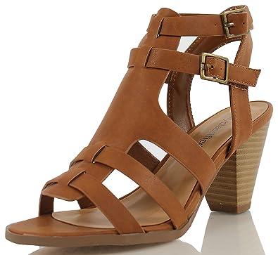 d4de3552fc7 Soda Women s Alway Faux Leather Open Toe Strappy Double Buckle Stacked Heels