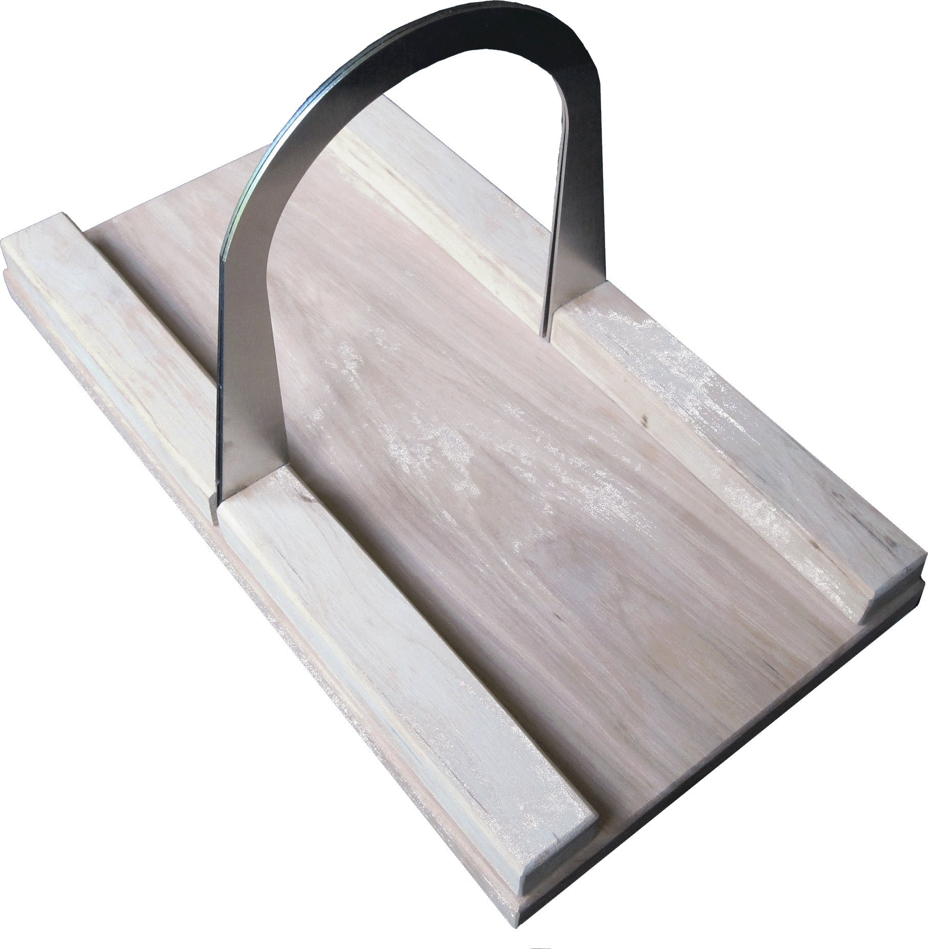 Bread Slicer Hickory Elite, Brushed Stainless Steel Guide and Hickory Wood Bread Board (5 Inch Loaf)