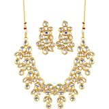 Aradhya Fashion Kundan Gold-Plated Traditional Necklace with Earrings Set for Women