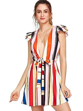 2f5d2ac3666 Floerns Women s Leaf Print Deep V Neckline Knot Front Mini Summer Dress at Amazon  Women s Clothing store