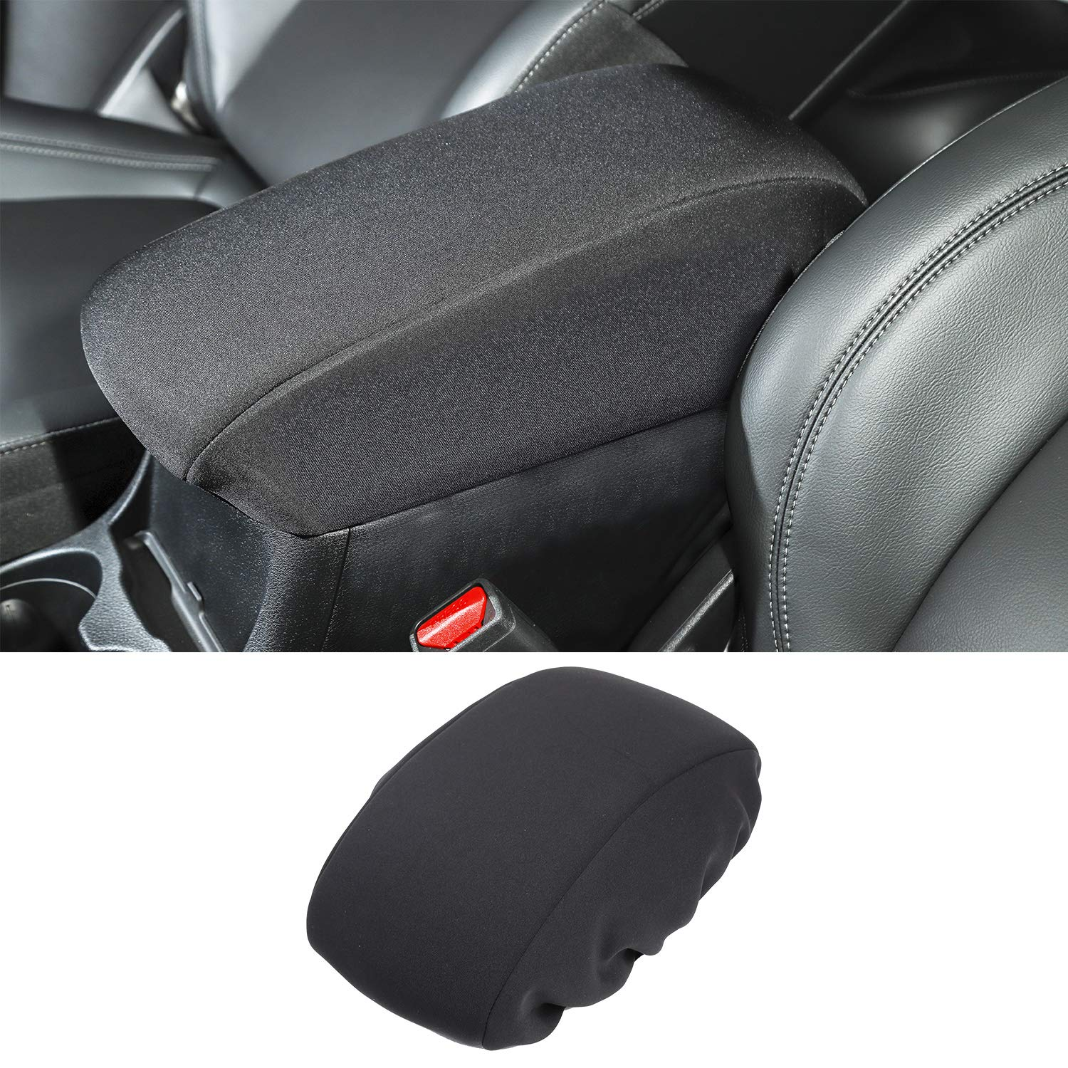 Black JeCar Center Console Cover Neoprene Armrest Pad Cover for 2014-2019 Jeep Cherokee KL