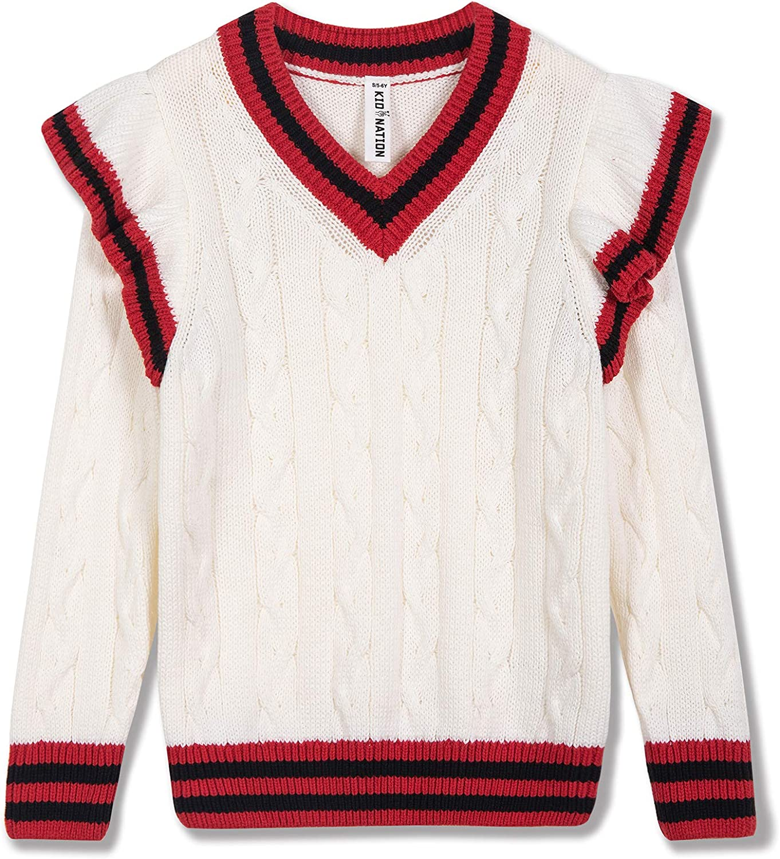 Kid Nation Girls Pullover Long Sleeve Crewneck Fashion Cute Sweatshirts Holiday Sweater