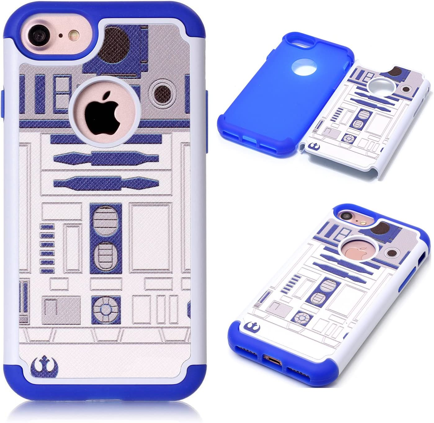 iPhone 8 Case,iPhone 8 Cover - R2D2 Astromech Droid Robot Pattern Shock-Absorption Hard PC and Inner Silicone Hybrid Dual Layer Armor Defender Protective Case Cover for Apple iPhone 8 (2017 Release)
