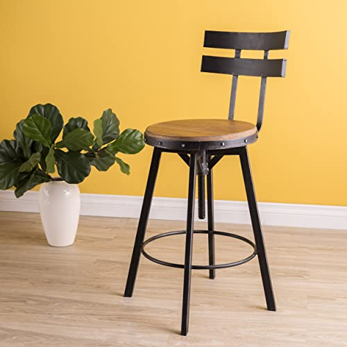 Christopher Knight Home Jutte Firwood Smooth Back Barstool, Black Brush Silver