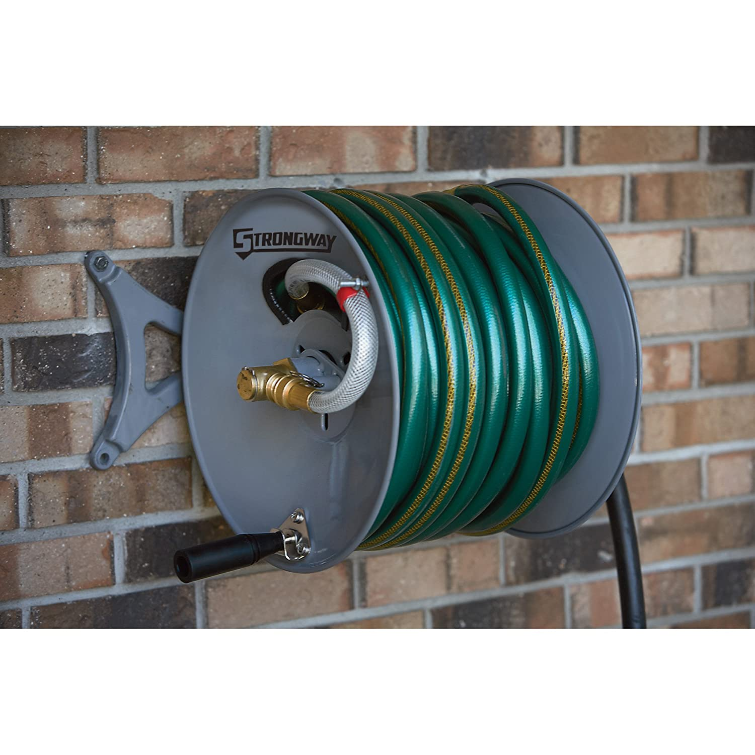 Strongway Parallel Or Perpendicular Wall Mount Garden Hose Reel   Holds  150ft. X 5/8in. Hose: Amazon.ca: Patio, Lawn U0026 Garden