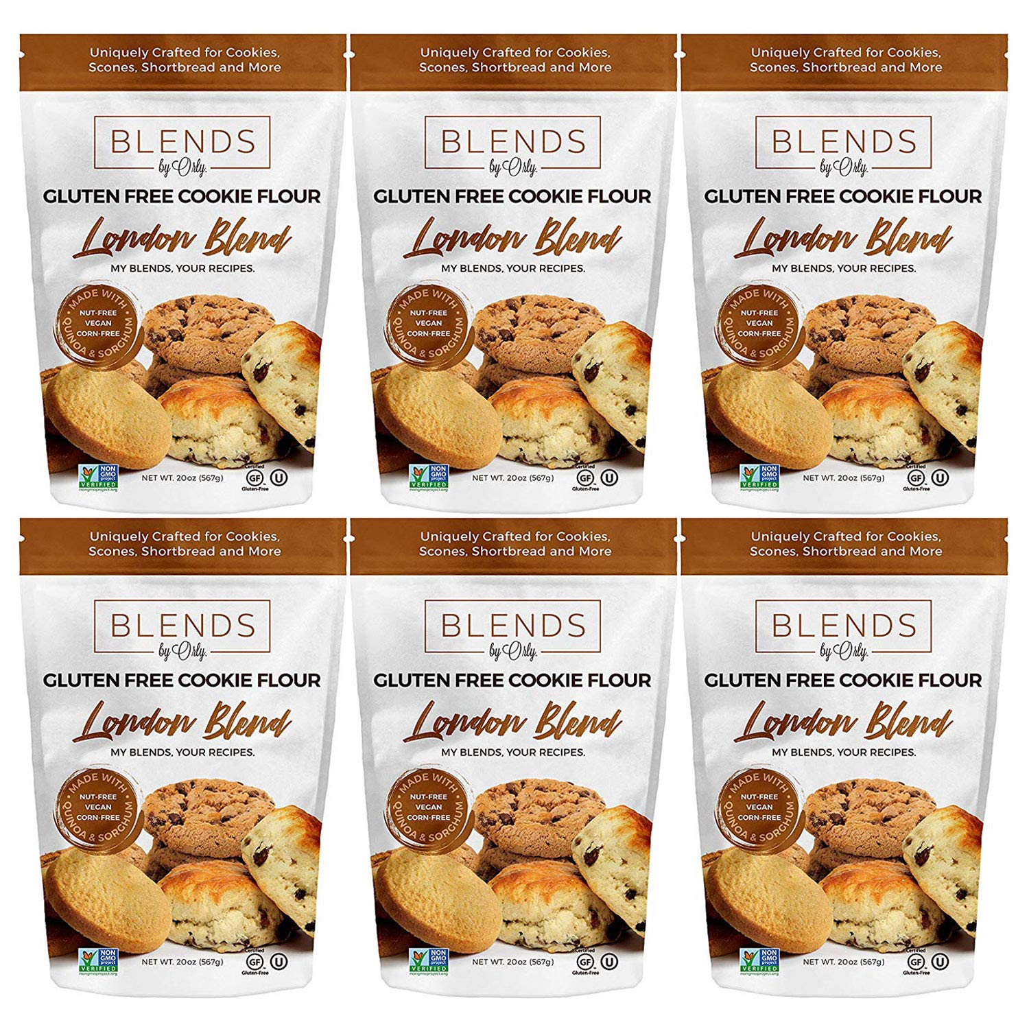 Premium Gluten Free Cookie Flour   Gluten Free Biscuits Flour - Baking Flour for Gluten Free Chocolate Chip Cookie, GF Oatmeal Raisin Cookies, GF Blondies from London Blends by Orly 120 OZ (Pack of 6) by Blends By Orly