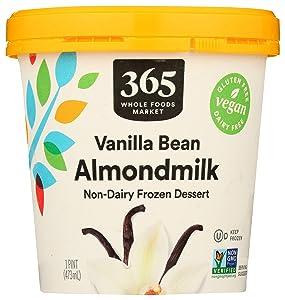 365 by Whole Foods Market, Non-Dairy Frozen Dessert, Almondmilk - Vanilla Bean, 16 Ounce