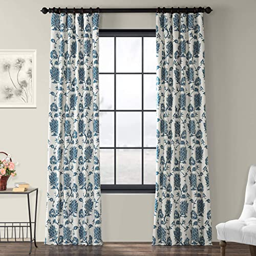 HPD Half Price Drapes PRTW-D51A-120 Printed Cotton Twill Curtain 1 Panel , 50 X 120, Duchess Blue