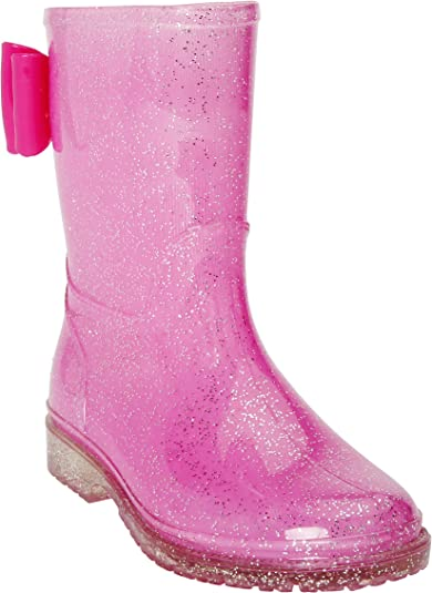 JELLY BEANS Girls Glitter Rubber Rain Boots 100/% Waterproof with Bow 2 US Little Kid, Black
