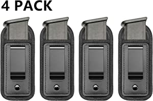 TACwolf 4 Pack Magazine Pouch IWB Inside Waistband Pistol Handgun for Concealed Carry Universal Single Double Stack Mags for Glock Sig Sauer S&W Springfield XD Ruger 9mm/.45