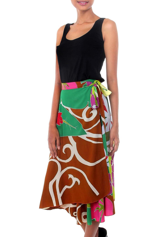 NOVICA Green Rayon Wrap Around Skirt, 'Floral Fantasy'