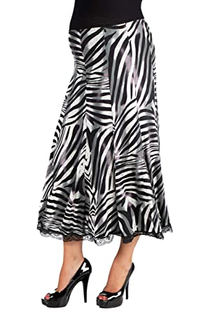 f4543fef19 24seven Comfort Apparel Maternity Clothes for Women Zebra Print Paneled  Midi Skirt with Lace Trim - Made in USA - (Sizes S-L) at Amazon Women's  Clothing ...