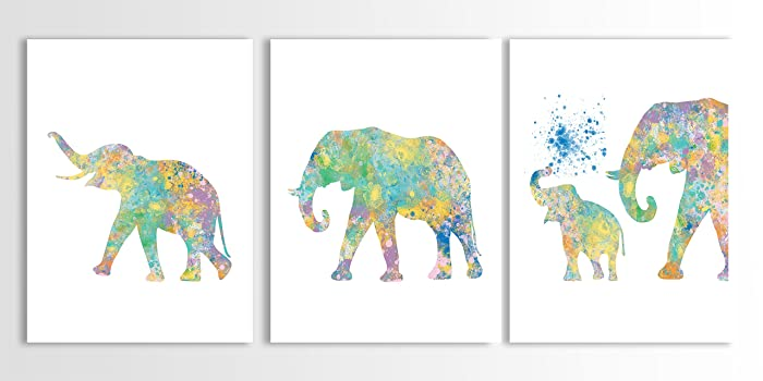 Elephant Wall Art, Kids Wall Art, Watercolor Painting, Baby Elephant Art,  Elephant