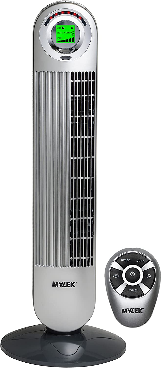 MYLEK CYCLOPS Oscillating Tower Fan with Remote Control - 6 Speed Settings, 1-12h Timer, Air Cleaning Ioniser, Sleep Mode & Breeze Mode (34, Silver)