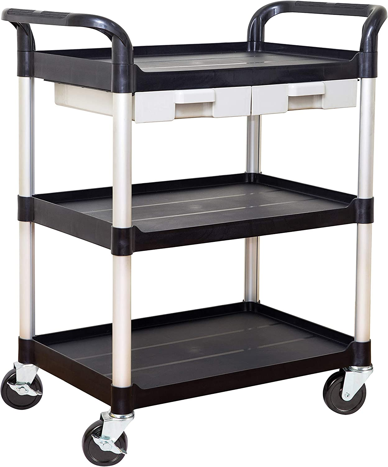 JaboEquip Commercial Utility Carts with Drawers for Lab and Hospitality Black