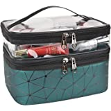 MKPCW Makeup Bags Double layer Travel Cosmetic Cases Make up Organizer Toiletry Bags (Dark green)
