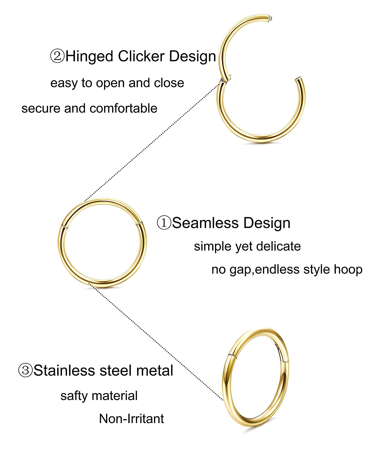 LOYALLOOK 18-20G Stainless Steel Seamless Septum Clicker Ring Easy Use Septum Lip Nose Hoop Ring Helix Daith Cartilage Tragus Improved DGP0015C