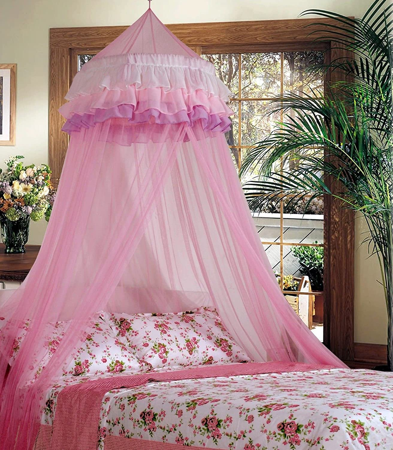 Goplus Princess Bed Canopy Mosquito Netting Dome with Elegant Ruffle Lace for Girls and Baby (Pink) Superbuy YC-US2-150713-072
