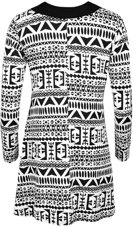 WearAll - Lange Hülse der Frauen Kragen drucken Top Damen Swing-Kleid - Großen  Aztec Schwarz Weiß - 40-42: Amazon.de: Bekleidung