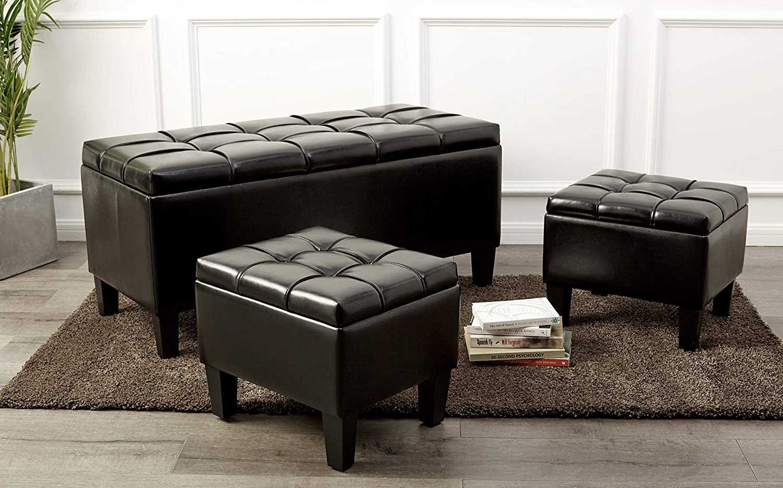 First Hill Bergen 3-Piece Faux-Leather Storage Ottoman Bench Set Jet Black