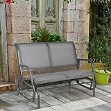 DORTALA 48'' Outdoor Patio Swing Glider Bench Chair Loveseat Rocker Lounge Backyard Grey