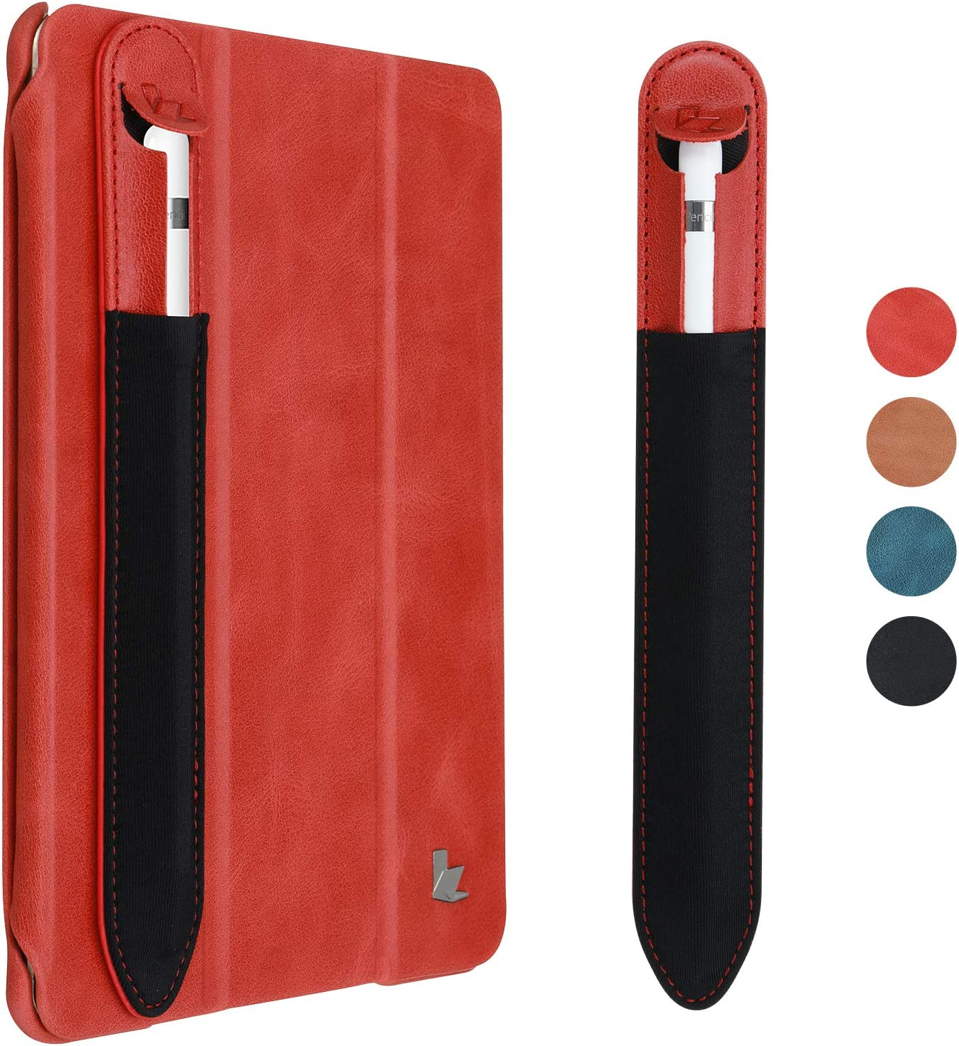 Apple Pencil Holder Sticker,Jisoncase Apple Pencil 2nd and 1st Gen Protective Elastic & Leather Pouch Pocket Adhesive Case Sleeve Compatible with iPad Pro and iPad Mini 5/4 iPad Red