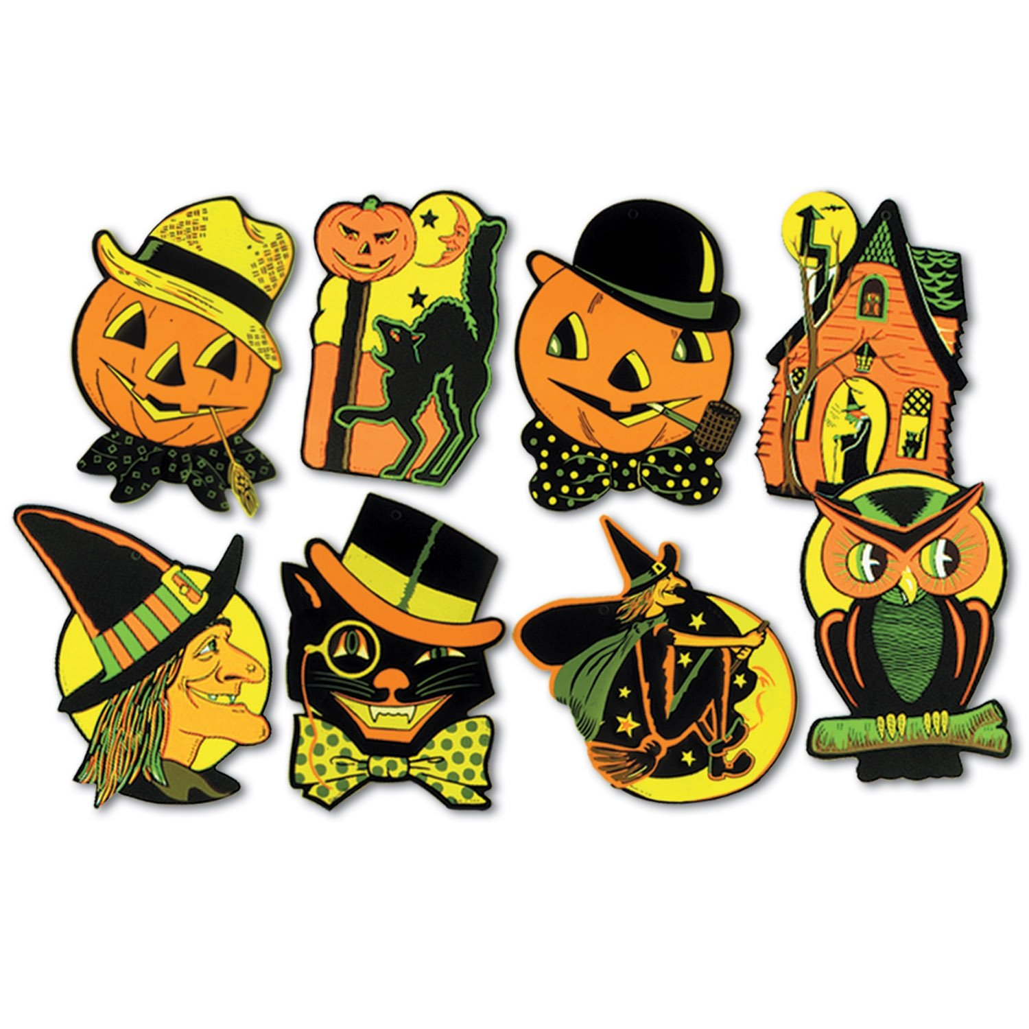 Beistle 01009 Packaged Halloween Cutouts, 8.5'' - 9.25'', 4 Cutouts In Package