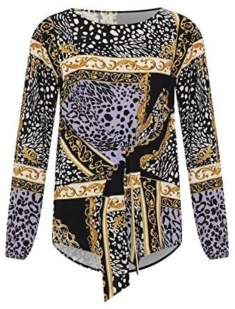 55f6d9f1e35 MA ONLINE Ladies Baroque Scarf Print Long Sleeve Tie Front Top Tees Women  Party Wear Shirt Lilac UK 20  Amazon.co.uk  Clothing
