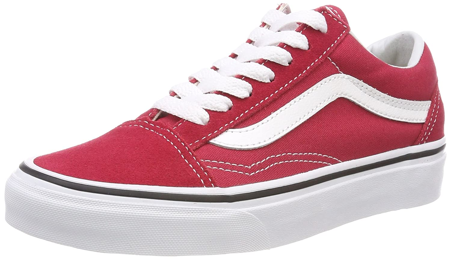 Vans Unisex Old Skool Classic Skate Shoes B074HC61BT Boys/Mens 11|Crimson/True White