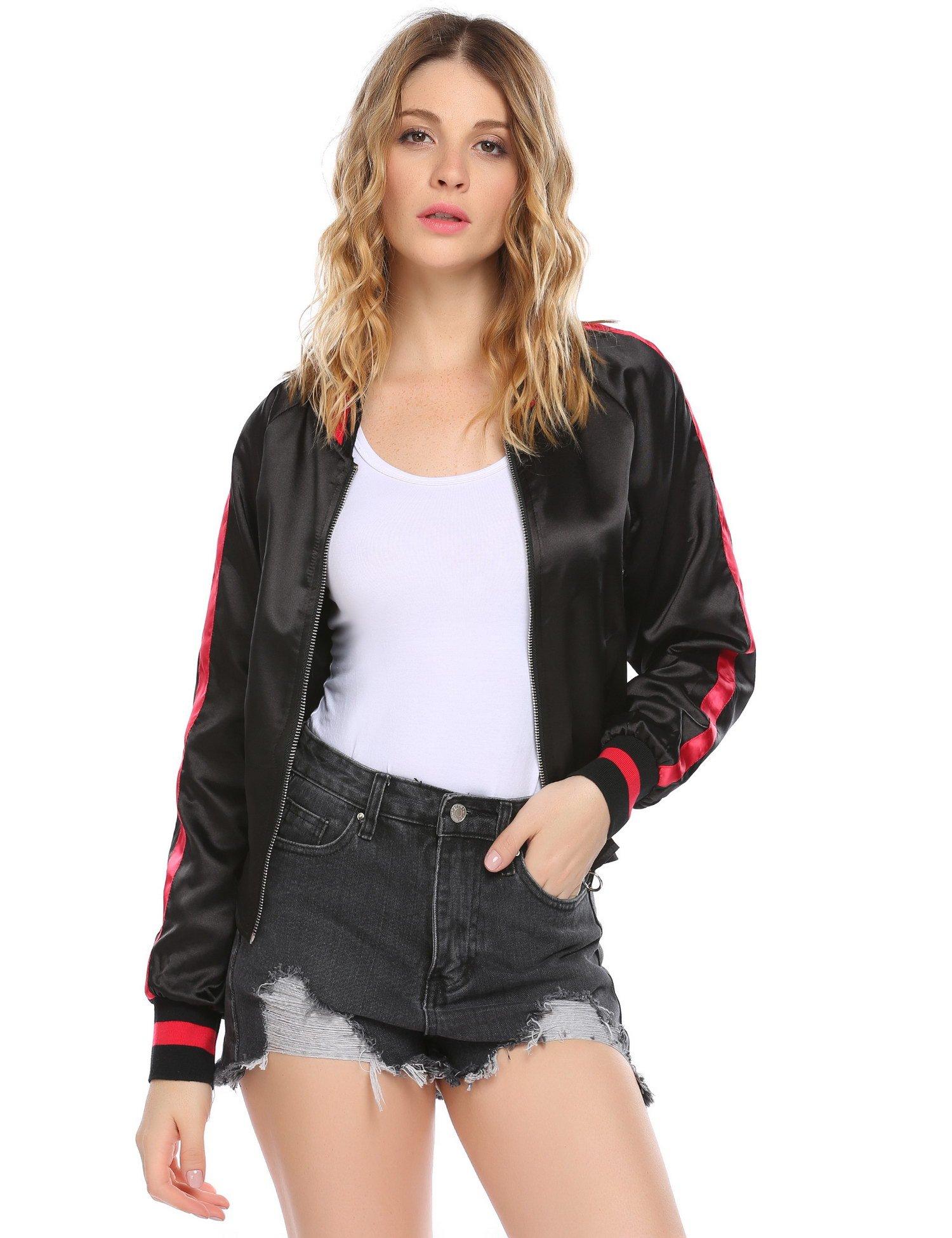 Zeagoo Women's Long Sleeve Stand Collar Zip Up Slim Fit Casual Bomber Jacket Black L