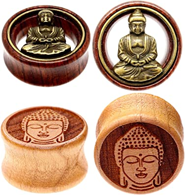 Barbells Carved Bone Buddha Ear Gauge Double Flared Hollow 1 Pc Elementals Organics Saba Wood Plugs For Ear Men