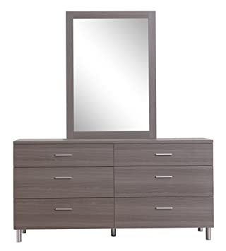 Amazon Com Kinwai Double Dresser With Mirror 60 Grey Kitchen