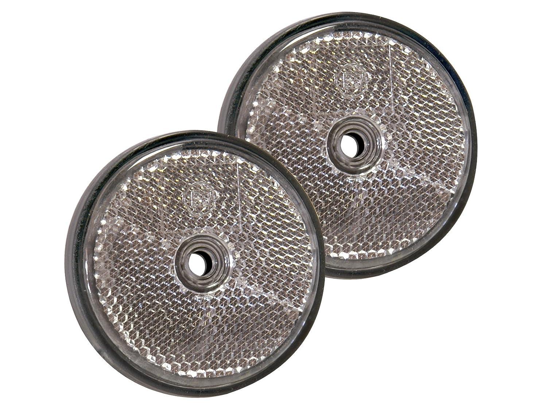 10 Stück Reflektor rund weiß 60mm mit Befestigungsloch MS Warenvertrieb