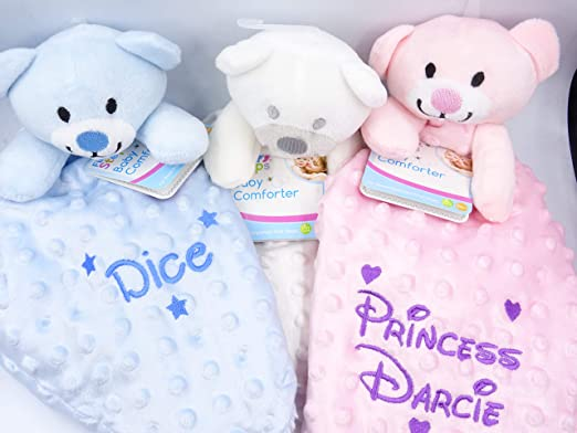 Personalised baby blanket pink with cute teddy bear add any name of your choice