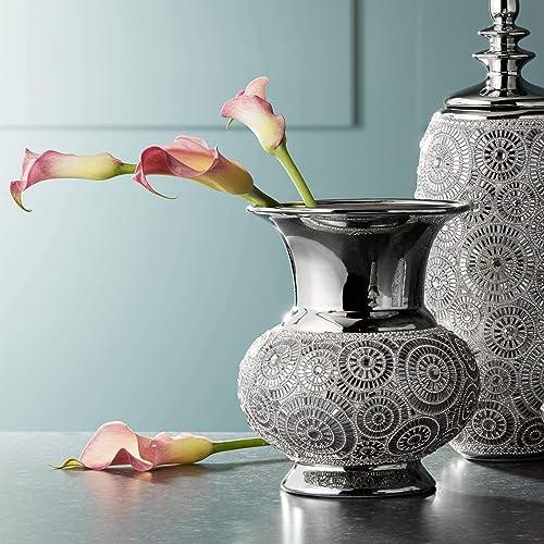 Dahlia Studios Silver 9 1 2 High Ceramic Vase