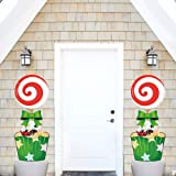 Christmas Valentine's Day Yard Sign Candy with Stakes, Christmas Yard Decorations Outdoor Lollipop Party Sign Lawn Pathway Po