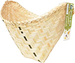 Thai Sticky Rice Steamer Bamboo Basket - More Thicker & Bigger with Have Bottom Pad