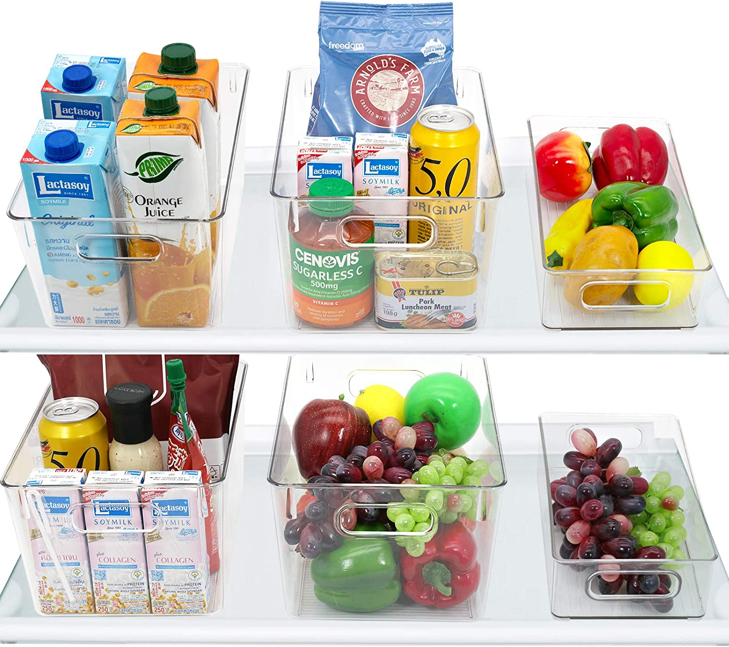 RMAI Fridge Organizer, 6 Pack Refrigerator Bins Kitchen Can Storage Container Pantry Organizers Clear Stackable Plastic Food Organization for Freezers, Cabinets, Refridge, Countertop, Cupboard