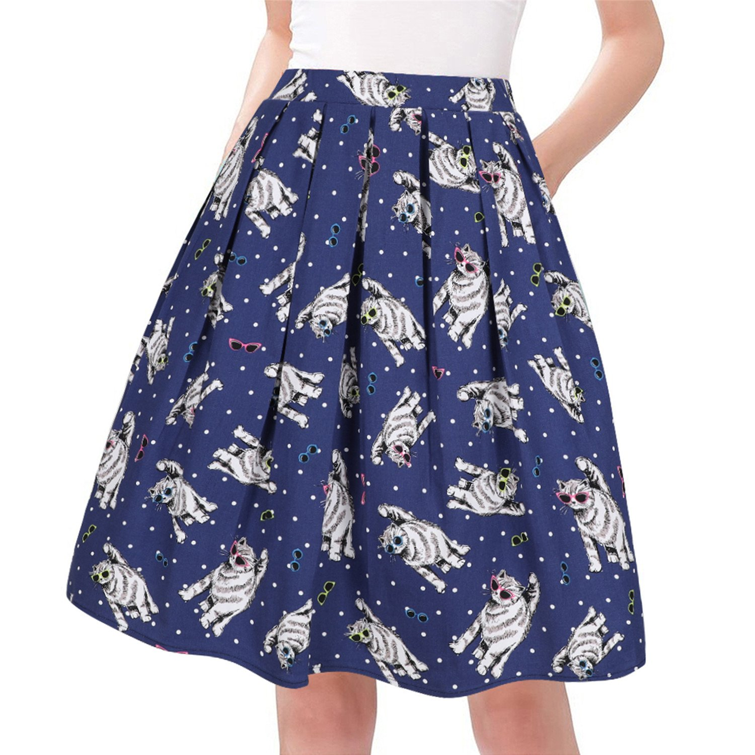 Taydey A-Line Pleated Vintage Skirts for Women (XL, Cat)