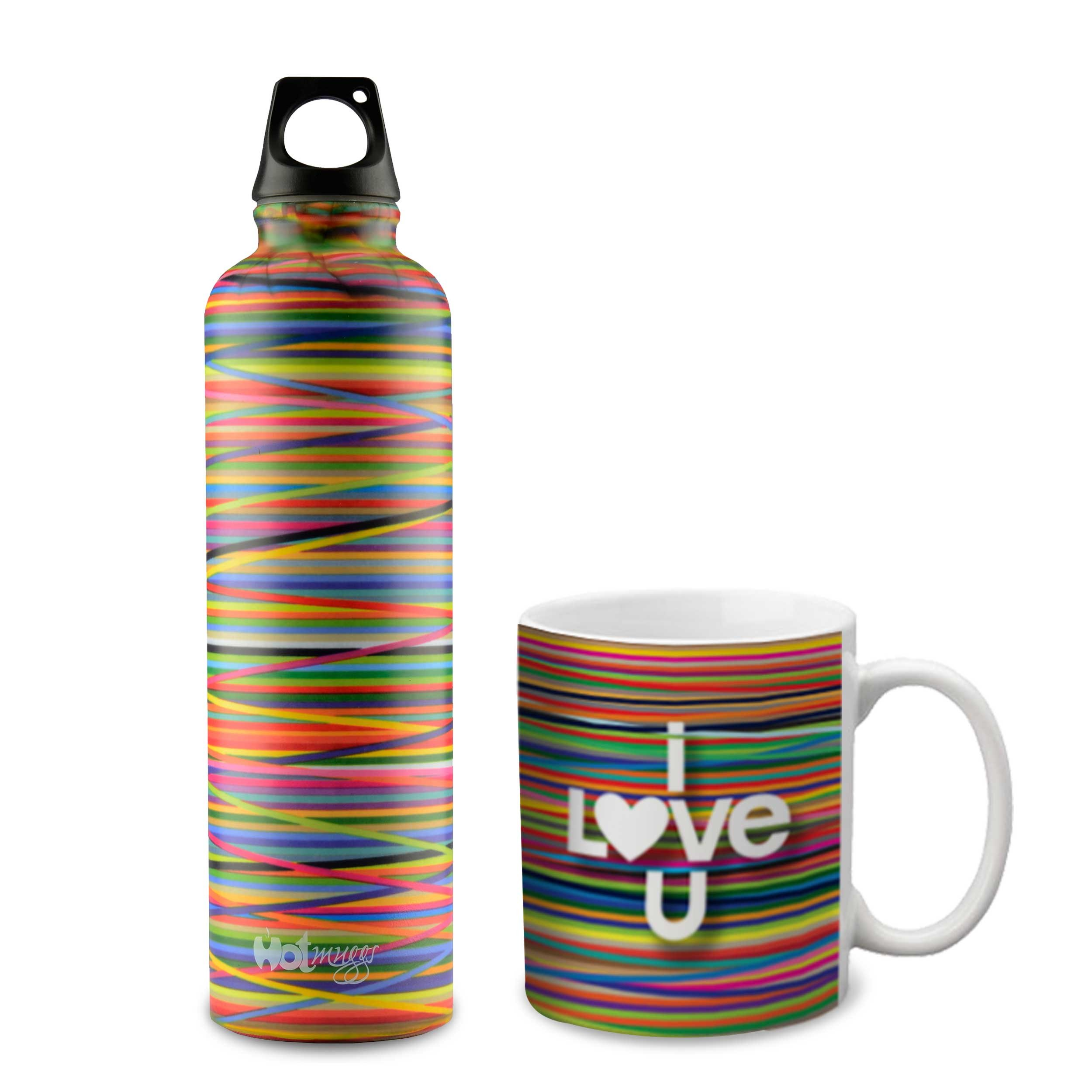 Hot Muggs Colors Combo Gift Set (I Love You Mug and Bottle), 2 Pc